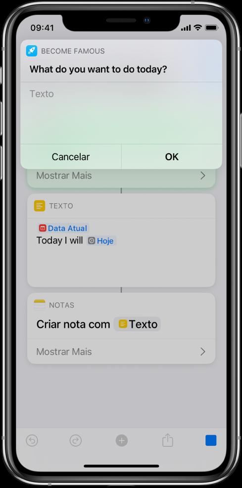 Diálogo solicitando que o usuário forneça uma entrada antes que o atalho continue.