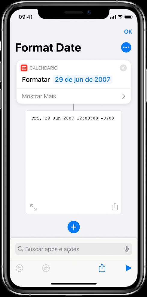 Editor de atalhos mostrando a imagem de saída de um atalho concluído.
