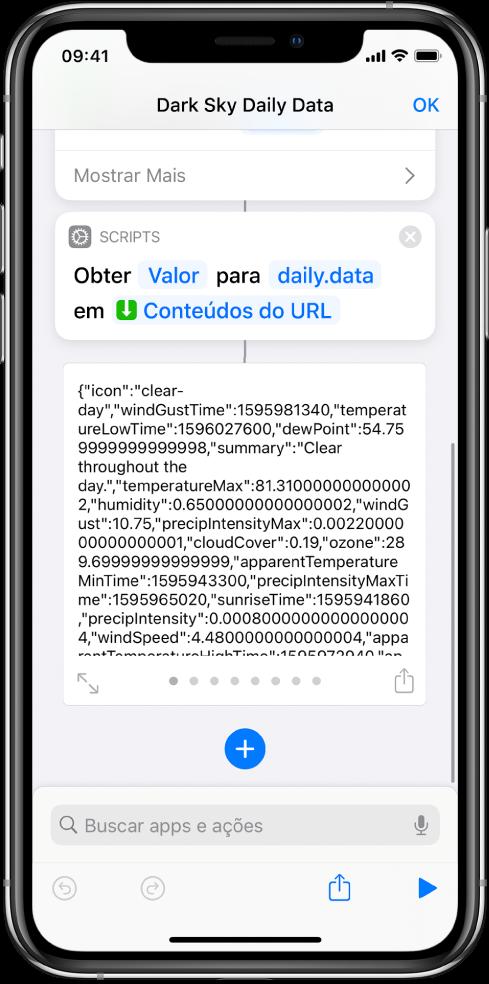 Ação Obter Valor do Dicionário no editor de atalhos com a chave definida como dados.