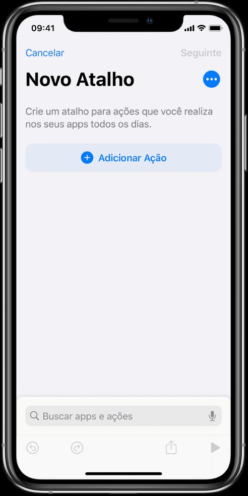 Editor de atalhos vazio em um iPhone.