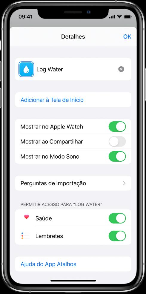 Tela de Detalhes no app Atalhos mostrando a Tela de Início.