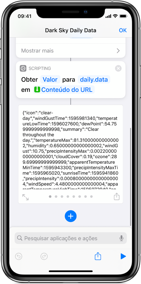 """Ação """"Obter valor do dicionário"""" no editor de atalhos com a chave definida como dados."""