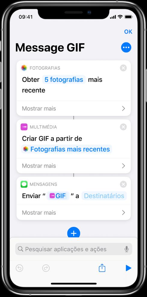 Editor de atalhos a mostrar ações usadas para enviar uma mensagem com fotografias e um GIF animado.