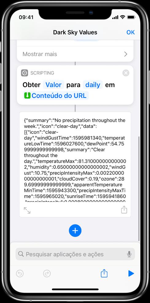 """Ação """"Obter valor do dicionário"""" no editor de atalhos com a chave definida como diário."""