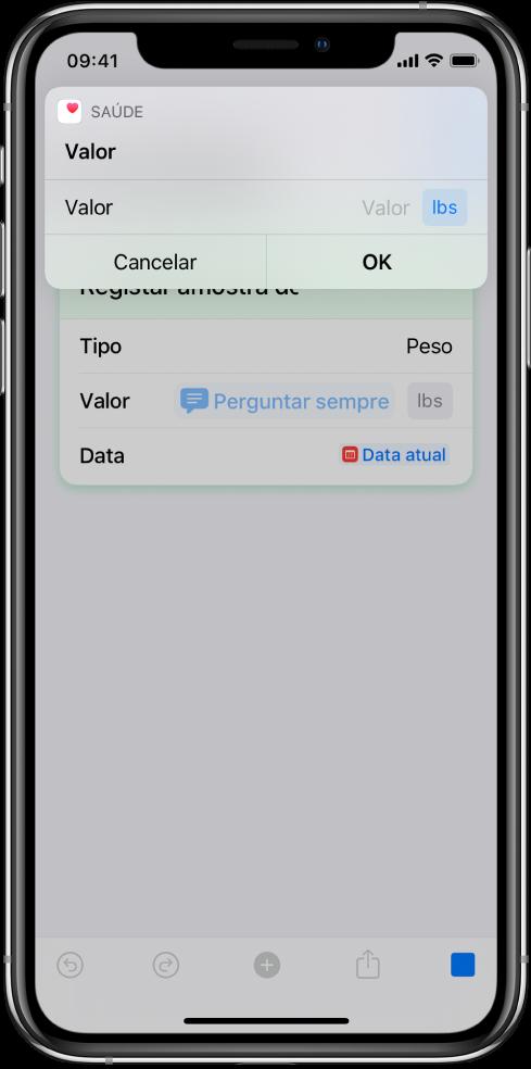 """Variável """"Perguntar sempre"""" a colocar o atalho em pausa para solicitar dados introduzidos manualmente."""