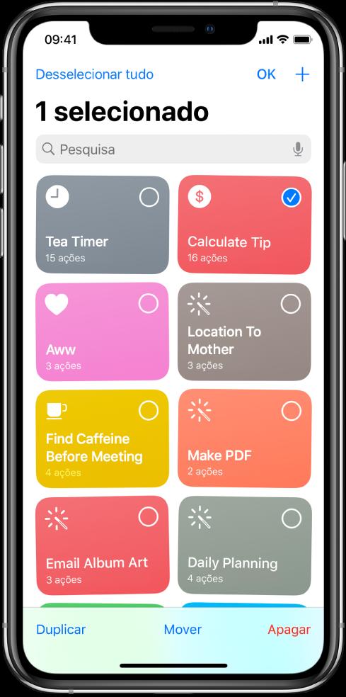 Ecrã da aplicação Atalhos no modo de edição.