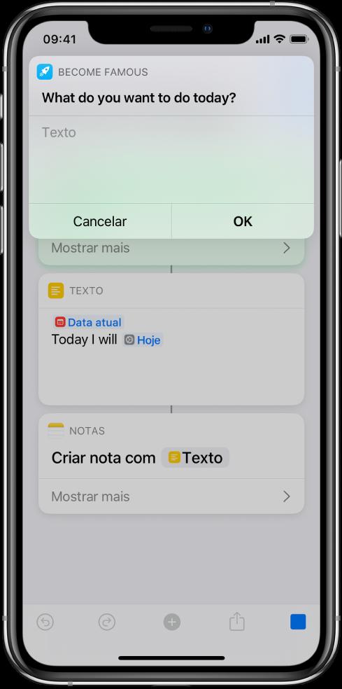 Caixa de diálogo a solicitar uma entrada ao utilizador antes de o atalho continuar.