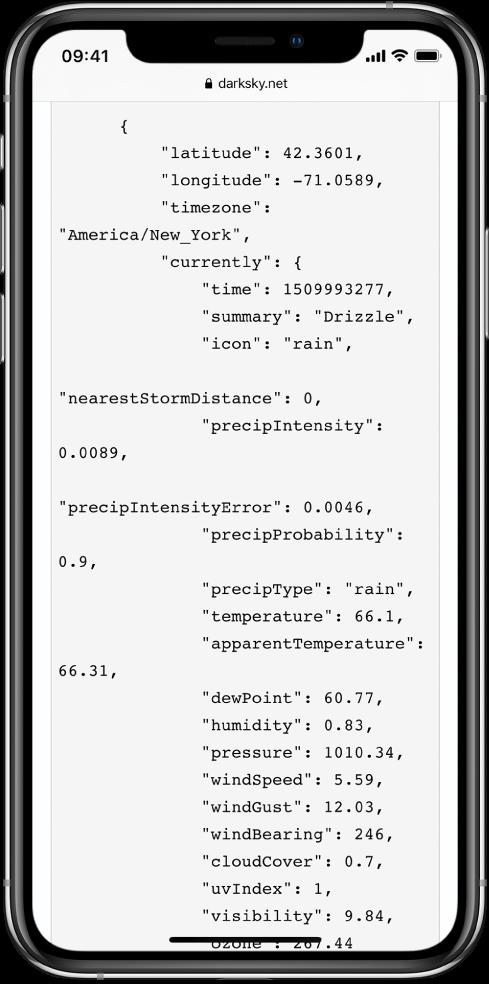 Пример данных в формате JSON.