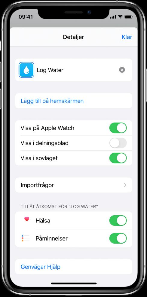 Skärmen Detaljer i appen Genvägar som visar Visa på Apple Watch.