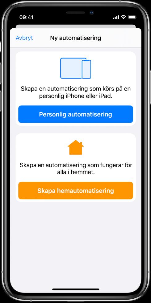 Avsnittet Automatisering i appen Genvägar.