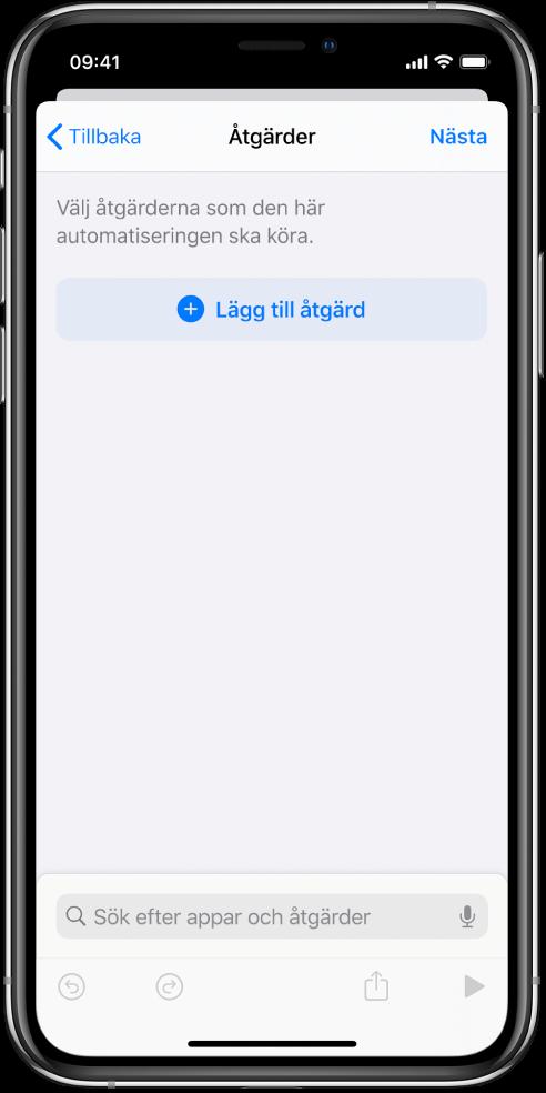 En tom automatisering i automatiseringsredigeraren i appen Genvägar.