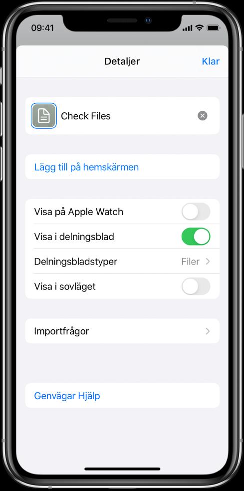 Genvägsredigerare med Visa i delningsblad aktiverat.