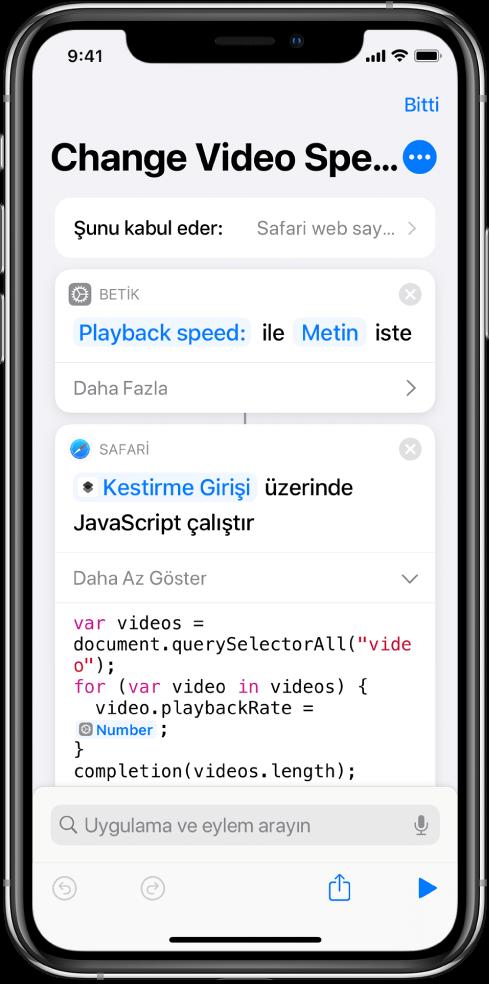 Sihirli Değişken içeren bir Web Sayfasında JavaScript Çalıştır işlemini gösteren kestirme düzenleyici.