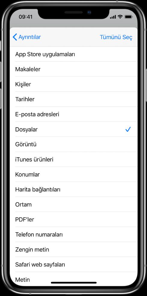 Başka bir uygulamadan çalıştırılan kestirmelerin hangi içerik türlerini kullanabileceğini gösteren Paylaşma Sayfası giriş listesi.