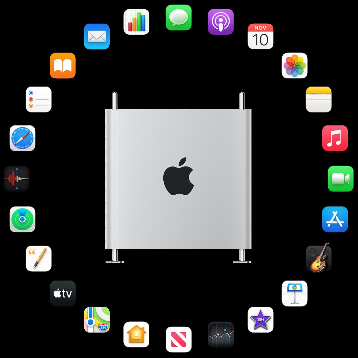 Ein MacPro, der von den Symbolen für die integrierten Apps umgeben ist, die in den folgenden Abschnitten beschrieben werden.