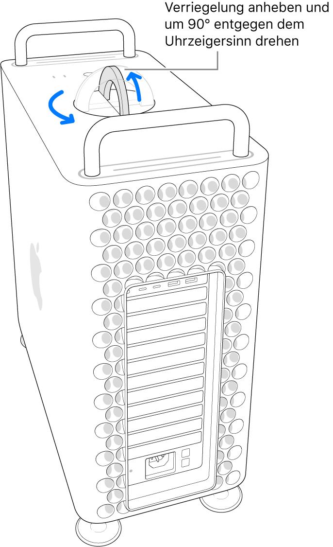 Gezeigt wird der erste Schritt zum Entfernen des Computergehäuses, indem die Verriegelung hochgeklappt und um 90 Grad gedreht wird.