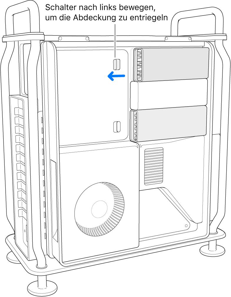 Der Schalter wird nach links bewegt, um die DIMM-Abdeckung zu entsperren.