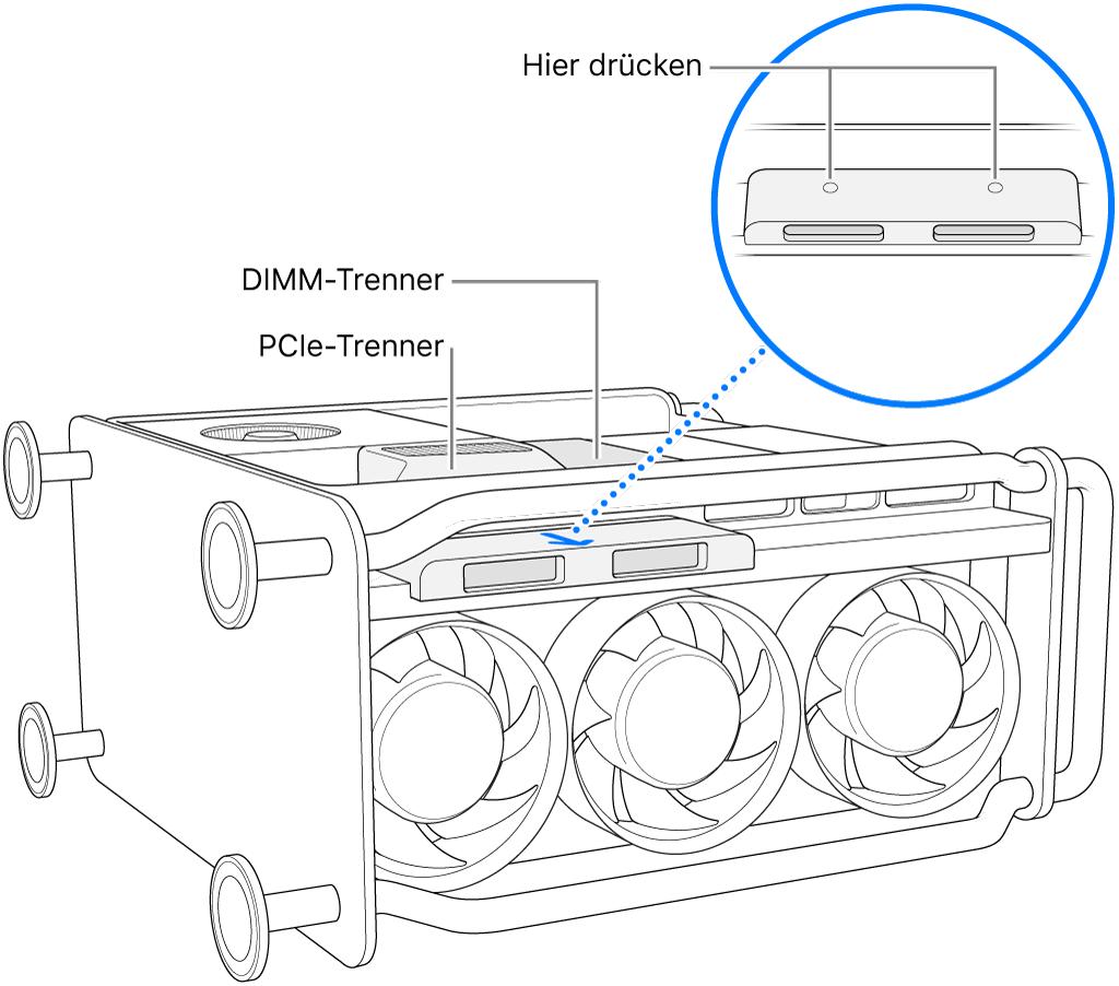 Der Mac Pro liegt auf der Seite und der DIMM-Trenner, der PCI-Trenner und die SSD-Abdeckung sind zu sehen.