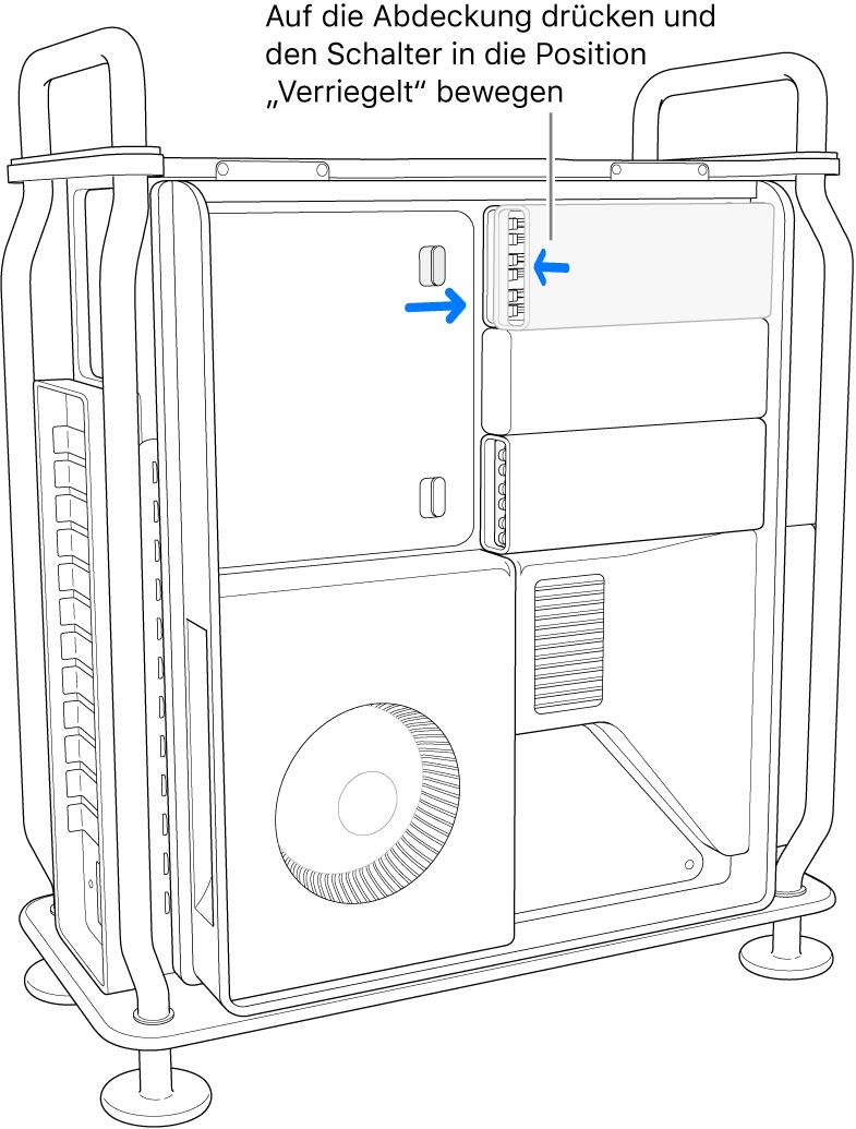 Durch Drücken auf die Abdeckung rastet der Schalter korrekt ein.