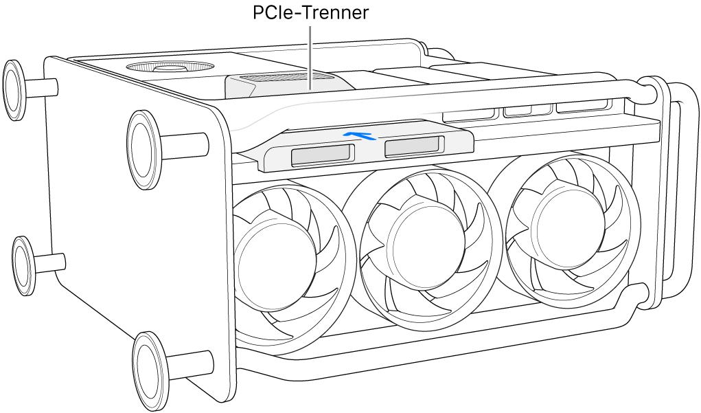 Der Mac Pro liegt auf der Seite und der PCIe-Sockel und die SSD-Abdeckung sind zu sehen.