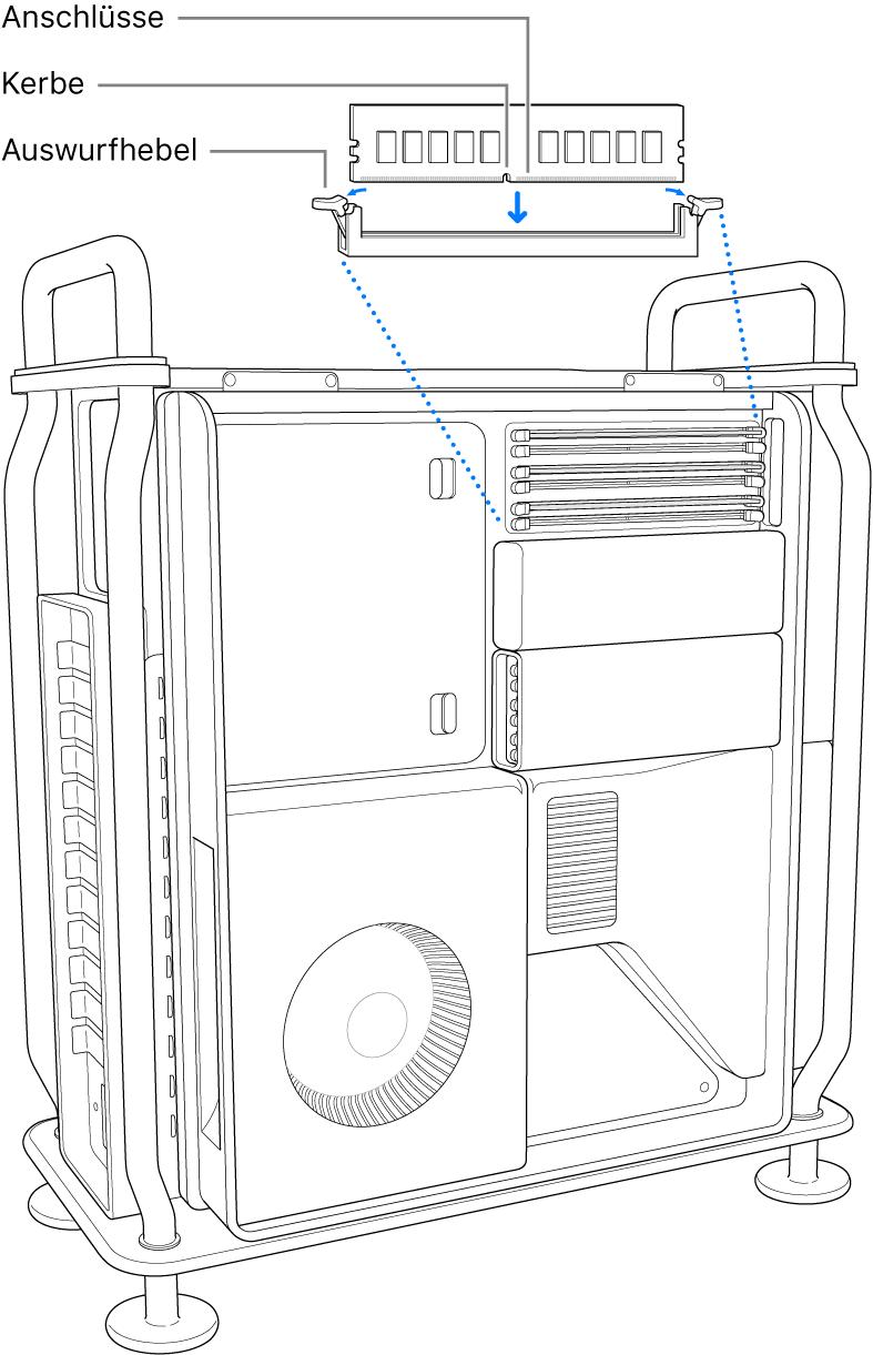 Das DIMM-Modul ist installiert, wenn die Verriegelungen an den Auswurfhebeln hörbar eingerastet sind.