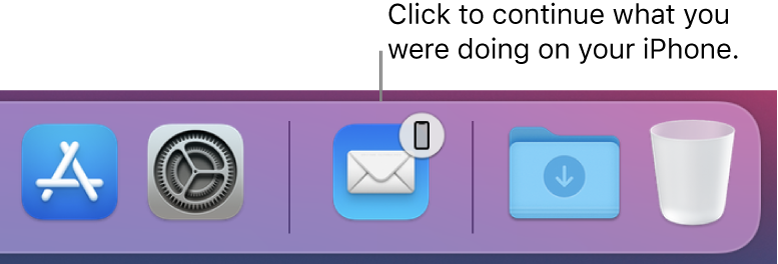 The Handoff icon visible in the Dock.