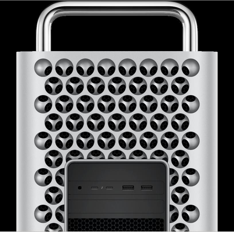 Closeup view of Mac Pro ports and connectors.