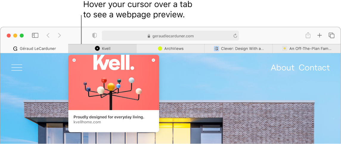 A Safari window with five tabs showing favicons as well as the tab label. Below one tab is a preview window of that tab's contents.