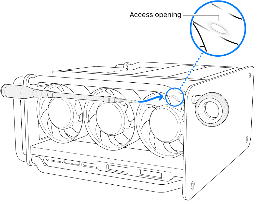 Align the driver with the access opening.