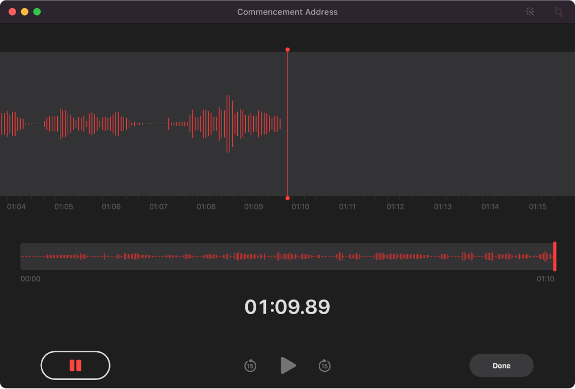 A Voice Memos window showing a recording in progress.