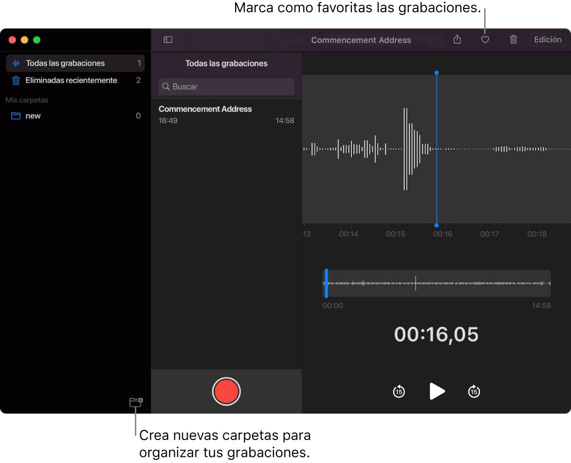 La ventana Notas de Voz que indica cómo crear nuevas carpetas o marcar una grabación como favorita.