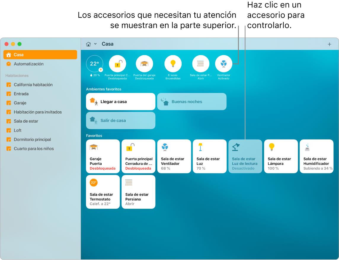 La app Casa con los ambientes y accesorios favoritos del usuario.