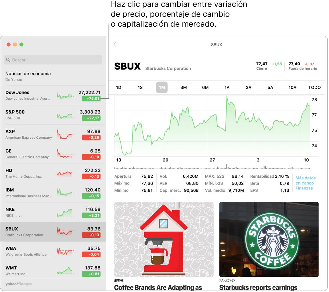Una pantalla de Bolsa que muestra información y artículos sobre el valor seleccionado.