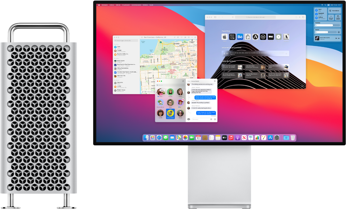Torre de Mac Pro junto a Pro Display XDR.