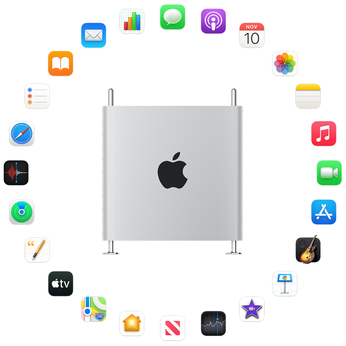 Un MacPro autour duquel sont représentées les icônes des apps fournies avec votre ordinateur et décrites dans les sections suivantes.
