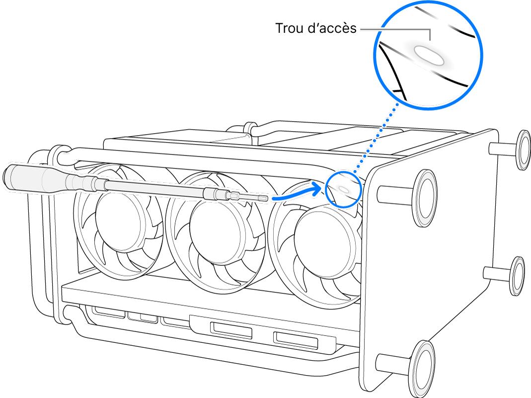 Le MacPro sur le côté, avec un tournevis flexible orienté vers l'ouverture d'accès.