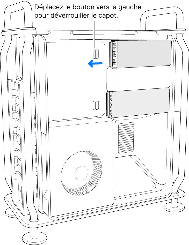 Le bouton est poussé vers la gauche pour déverrouiller le cache des DIMM.