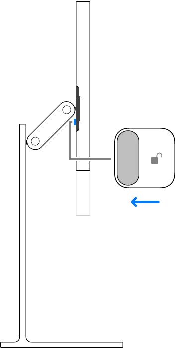 Een close-up van de vergrendeling op de magnetische connector die ontgrendeld wordt.