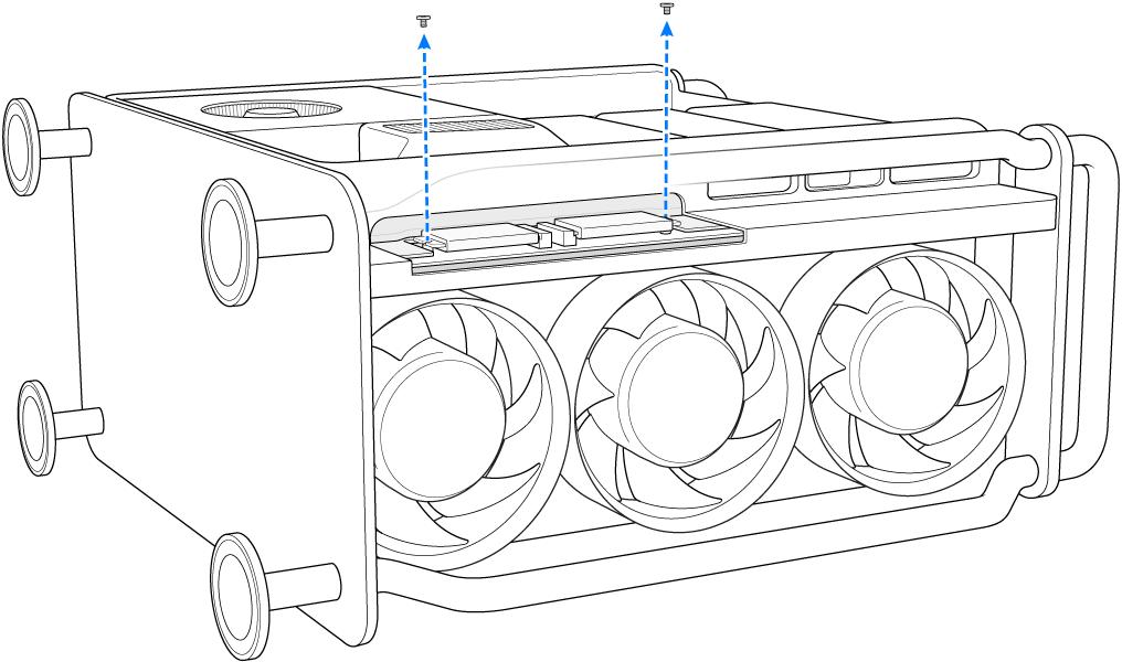Een MacPro op zijn kant waarbij wordt aangegeven hoe twee schroeven worden verwijderd.