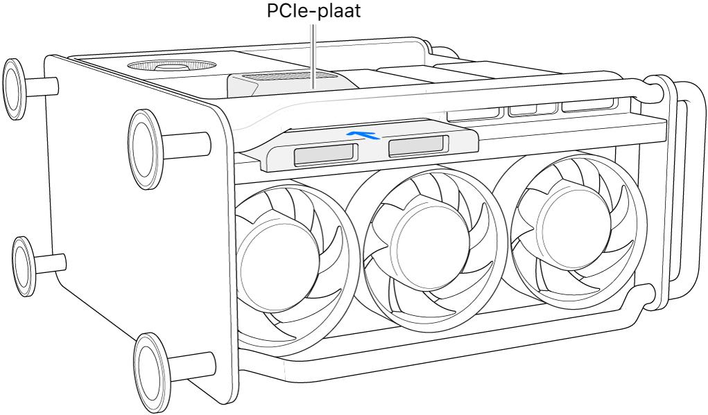 Een MacPro op zijn kant, waarbij de PCIe-plaat en SSD-afdekking worden aangegeven.