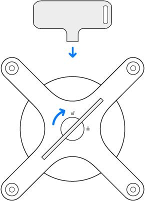 De sleutel en adapter worden rechtsom gedraaid.