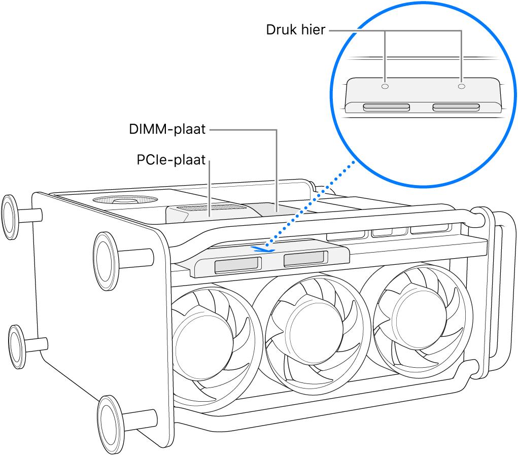 Een MacPro op zijn kant, waarbij de DIMM-plaat, PCIe-plaat en SSD-afdekking worden aangegeven.