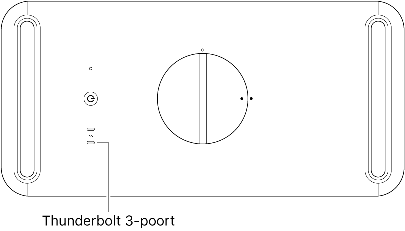 De bovenkant van de MacPro, waarbij wordt aangegeven welke Thunderbolt-3-poort moet worden gebruikt.