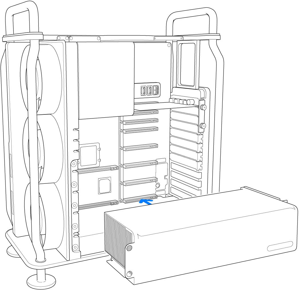 Een module wordt op zijn plaats gedrukt.