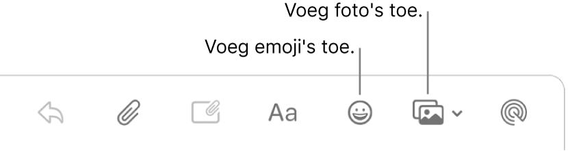 Een venster voor een nieuw bericht met daarin de knoppen voor emoji en foto's.