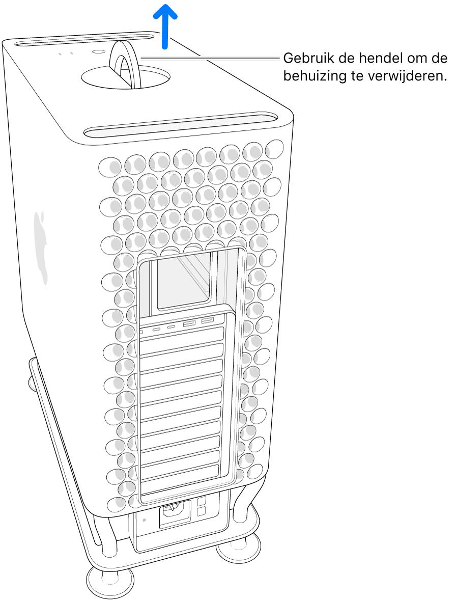 De hendel is gedraaid en staat omhoog; de behuizing wordt van de computer getild.