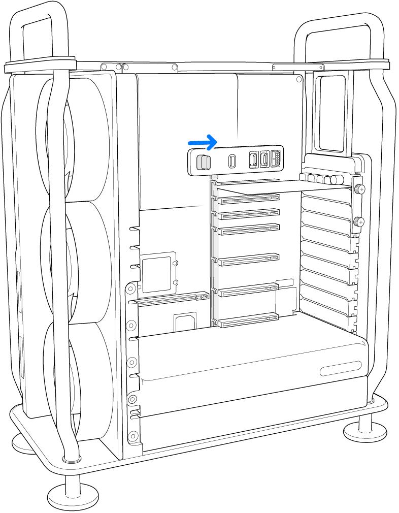 De PCI-vergrendelingsschuif wordt naar rechts verschoven.