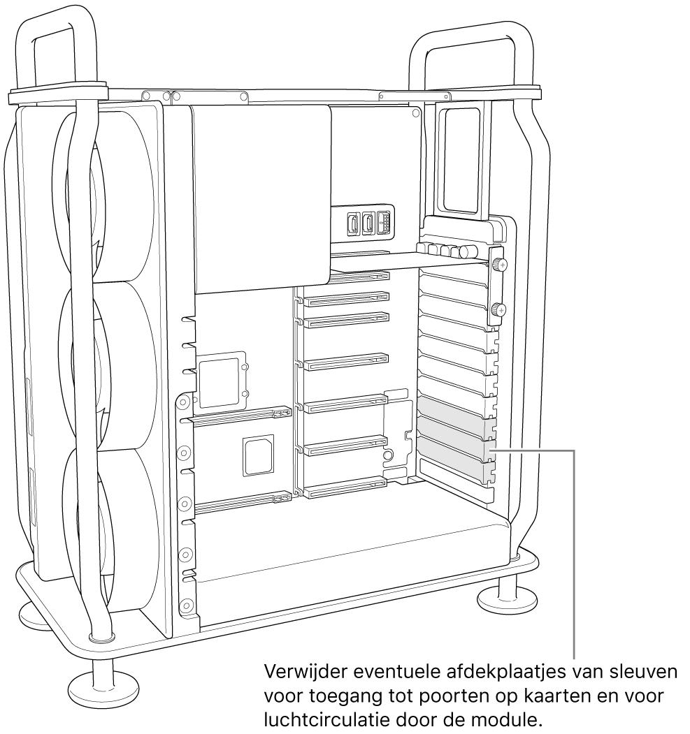 Verwijder eventuele sleufafdekkingen die nodig zijn voor toegang tot poorten op kaarten en voor luchtcirculatie in de module.