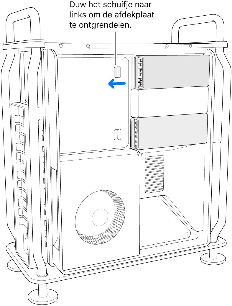 Het schuifje wordt naar links gezet om de DIMM-afdekking te ontgrendelen.