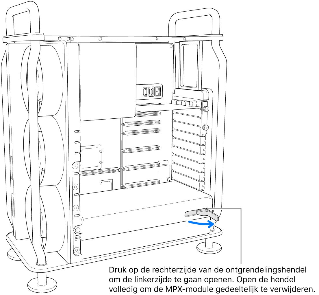 De hendel wordt geopend om de aanwezige module te ontgrendelen.
